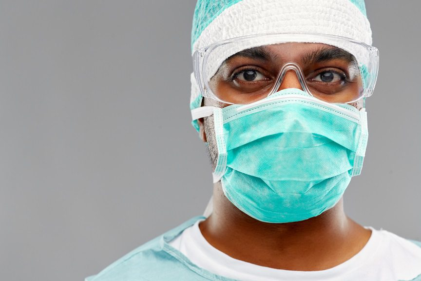 Indian Male Doctor Or Surgeon In Protective Wear